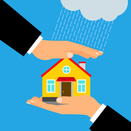 Insurance for home vector illustration. Hands holding and covering house building Illustration