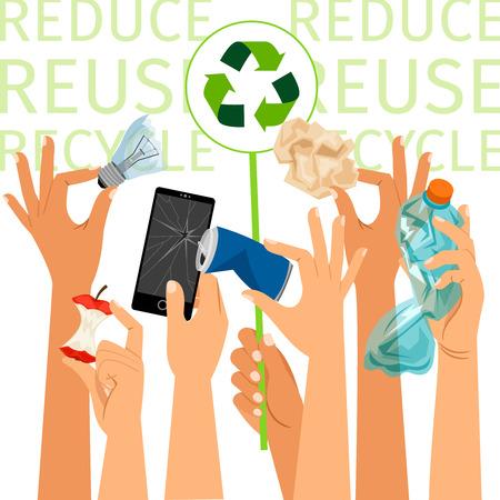 Hands holding different kind of trash, vector illustration Illustration