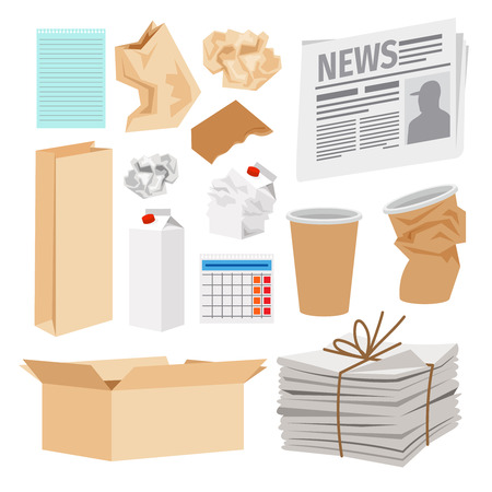 Paper trash icons collection. Vector icons of carton boxes, paper cups, stack of newspapers, milk packages Ilustração