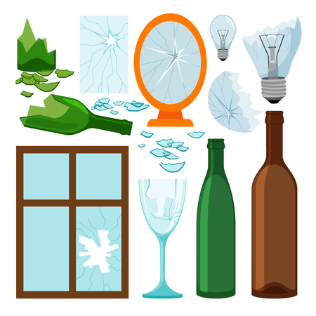 Glass garbage collection, empty bottles, brokem mirror and window, light bulbs vector icons Illustration