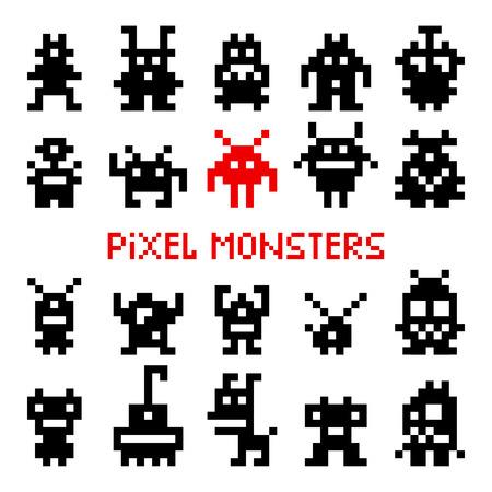 Pikselowe potwory kosmiczne. Ilustracja wektorowa najeźdźców gier zręcznościowych vintage