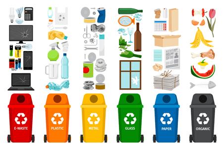 Contenitori dell'immondizia e tipi di rifiuti, icone variopinte di vettore
