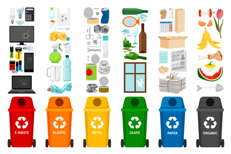 Pojemniki na śmieci i rodzaje śmieci, kolorowe ikony wektorowe