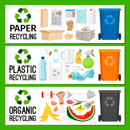 Banners with paper plastic and organic trash, vector illustration