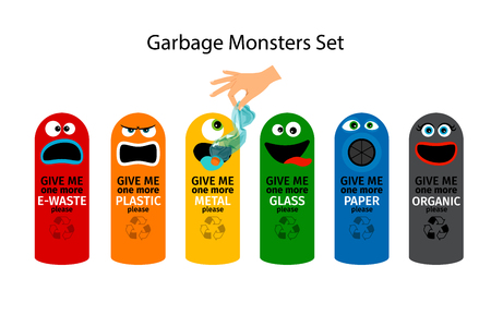 dumping: Garbage cans for kids with cartoon monster faces, vector illustration