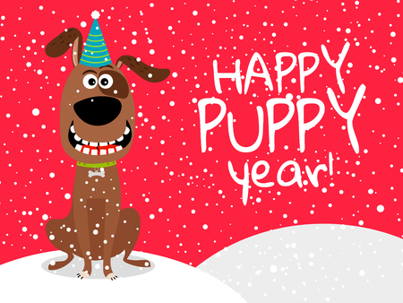 Dog new year. Chinese dog year 2018 happy cute vector flyer with snow, vector illustration.