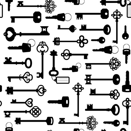 Black and white keys seamless pattern