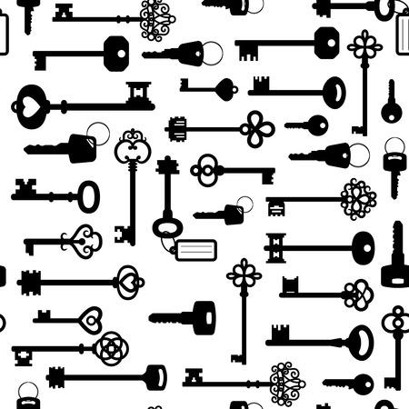 Black and white keys seamless pattern