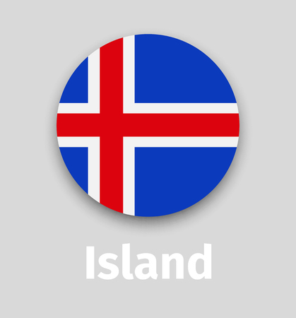 Iceland flag, round icon with shadow Illustration