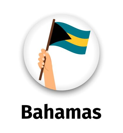 Bahamas flag in hand, round icon.