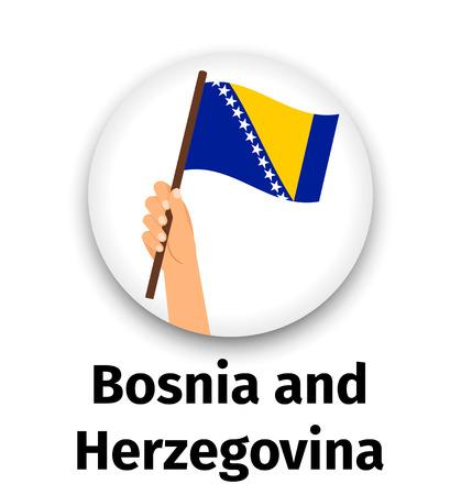 Bosnia and Herzegovina flag in hand Illustration