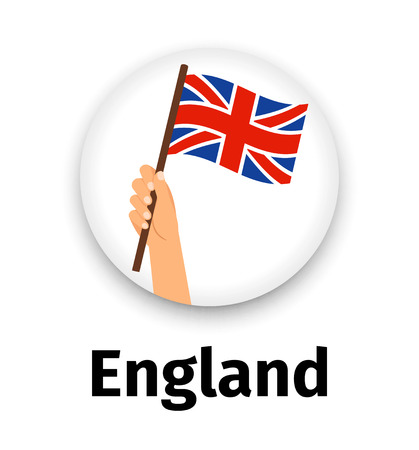 England flag in hand, round icon Vectores
