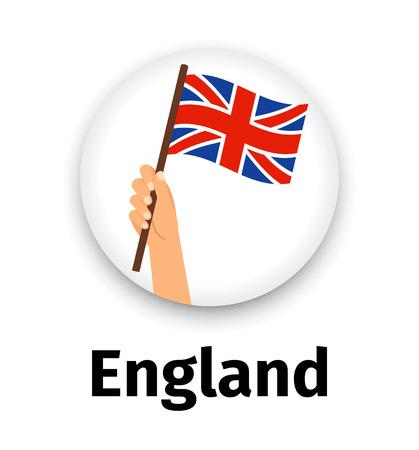 England flag in hand, round icon Ilustração
