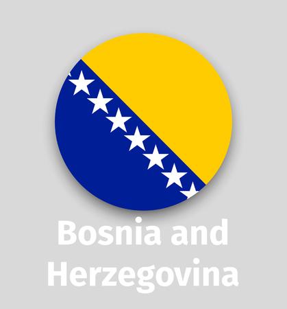 Bosnia and Herzegovina flag, round icon