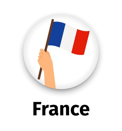 France flag in hand, round icon