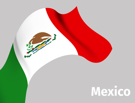 Background with Mexico wavy flag Illustration