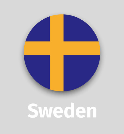 Sweden flag, round icon with shadow