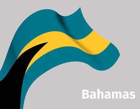 Background with Bahamas wavy flag