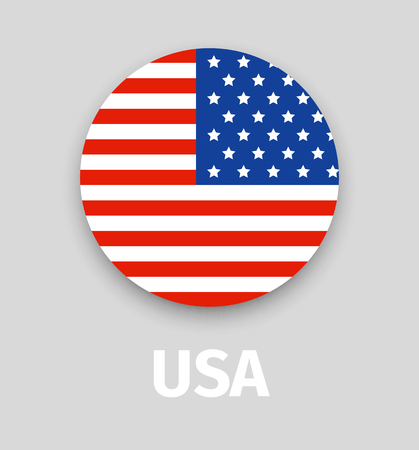 USA flag, round icon with shadow