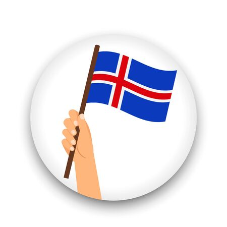 Iceland flag in hand, round icon