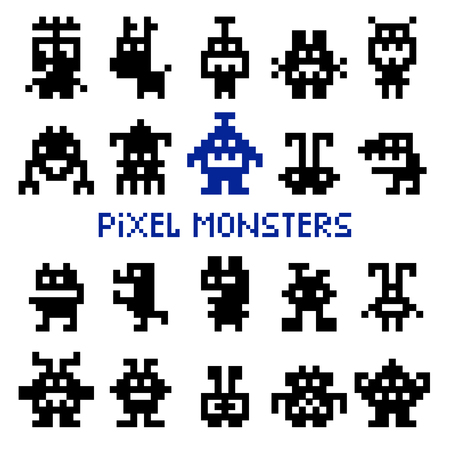 Retro pixel space monsters