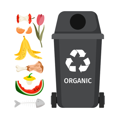 Organic garbage bin. Illustration