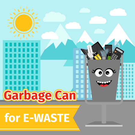 Garbage can with e-waste trash Illustration