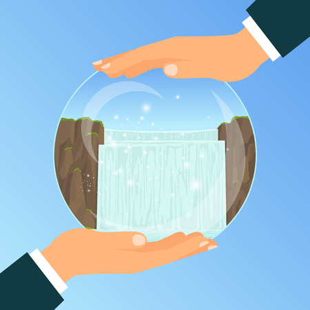 Businessman holding a glass bowl with vacation dream to the waterfall, vector illustration Illustration