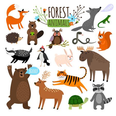 Set van dierlijke illustraties.