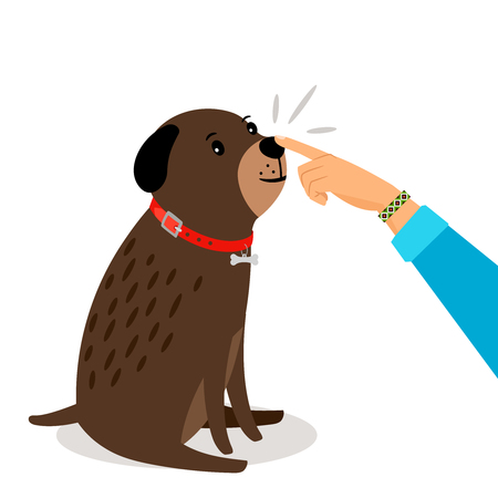 Girl touching dogs nose. Illustration