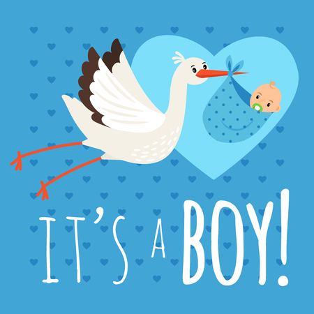 Stork with baby boy.