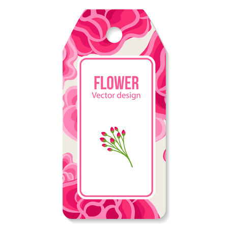 Tag with peony pattern for flower shop, vector illustration
