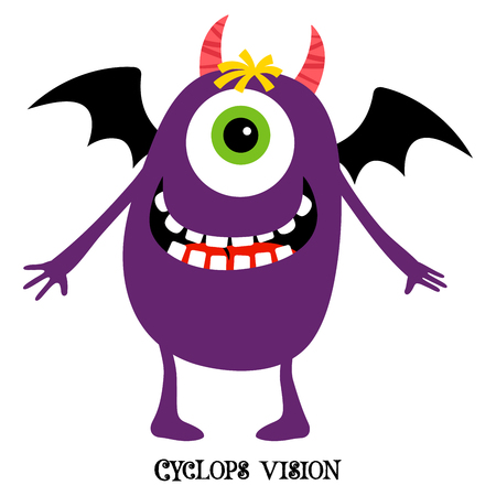 Cute print for t-shirt design with funny monster and text cyclops vision, vector illustration Illustration
