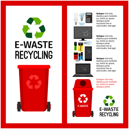 Garbage red container info with e-waste