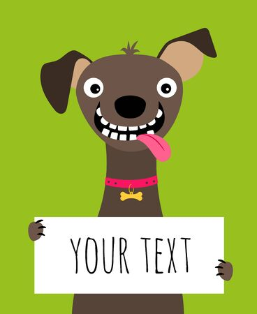 Card with happy dog holding text frame on green background, vector illustration