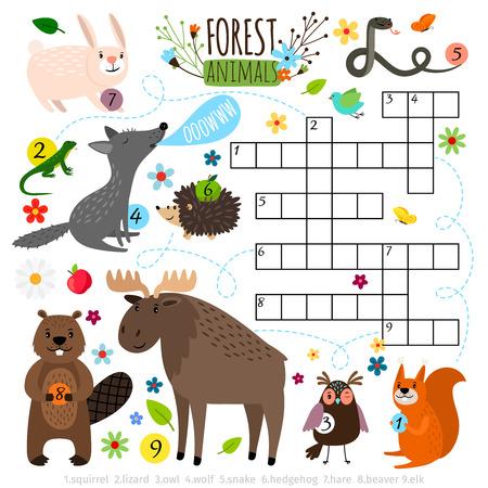 Bosdieren kruiswoordpuzzel. Stock Illustratie