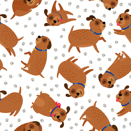 Puppy seamless pattern with paws footprints Illustration