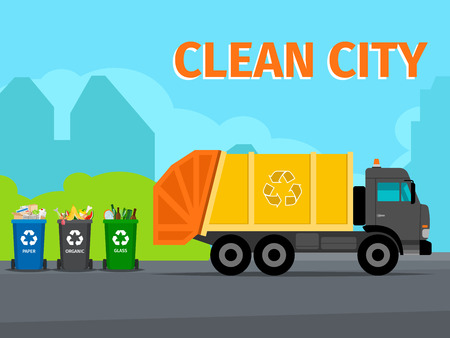 City waste recycling concept Illustration