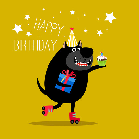 Happy dog on rollers greeting card Illustration