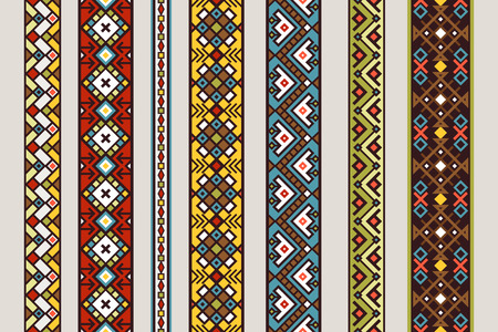 Patrones de cinta étnica. Vector conjunto de patrón de cinta inconsútil mexicana o tibetana con diseño de alfombra aislado sobre fondo blanco