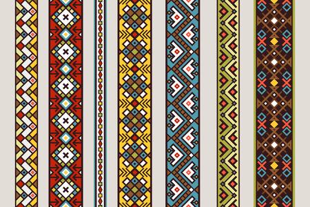 Ethnic ribbon patterns set