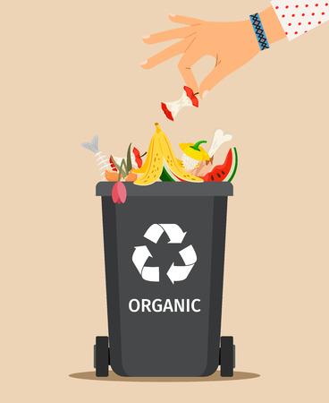 De vrouwenhand werpt huisvuil in een organische container, vectorillustratie Vector Illustratie