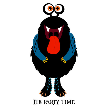 Cute print for t-shirt design with funny monster and text it is party time, vector illustration  イラスト・ベクター素材