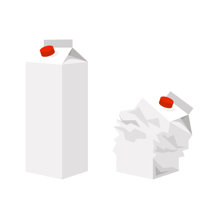 Cardboard packaging for milk isolated on white background, vector illustration