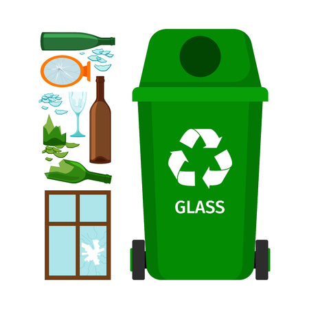 Green garbage can with glass Illustration