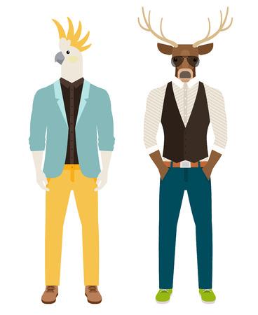 앵무새와 사슴의 머리를 가진 남자 캐주얼 옷. Antropomorphic 벡터 아이콘 설정 일러스트