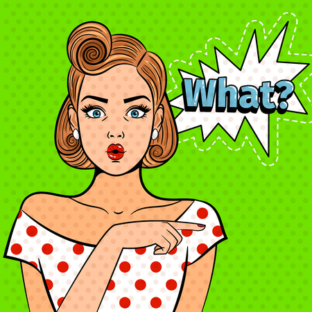 Pop art surprised lady. Young beautiful girl with what sign, pretty comic art shocked woman vector illustration Illustration