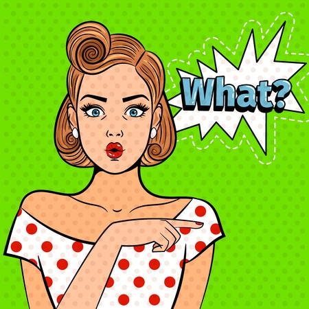 Popart verrast dame. Jong mooi meisje met welk teken, mooie grappige kunst geschokte vrouwen vectorillustratie