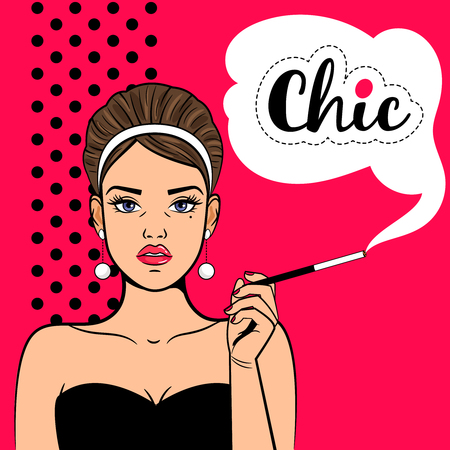 Pop art chic girl. Retro woman with mouthpiece and cigarette, young attractive arrogant and inaccessible lady vector illustration