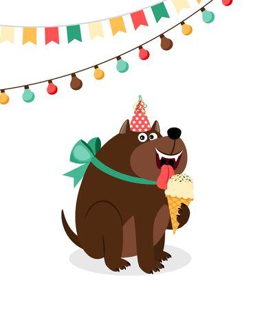 Happy dog with ice cream card.